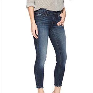 Paige Verdugo Blue Crop Frayed Hem Skinny Jeans 28